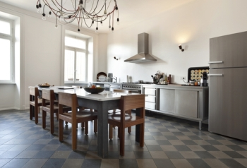 Kitchen with linoleum floors